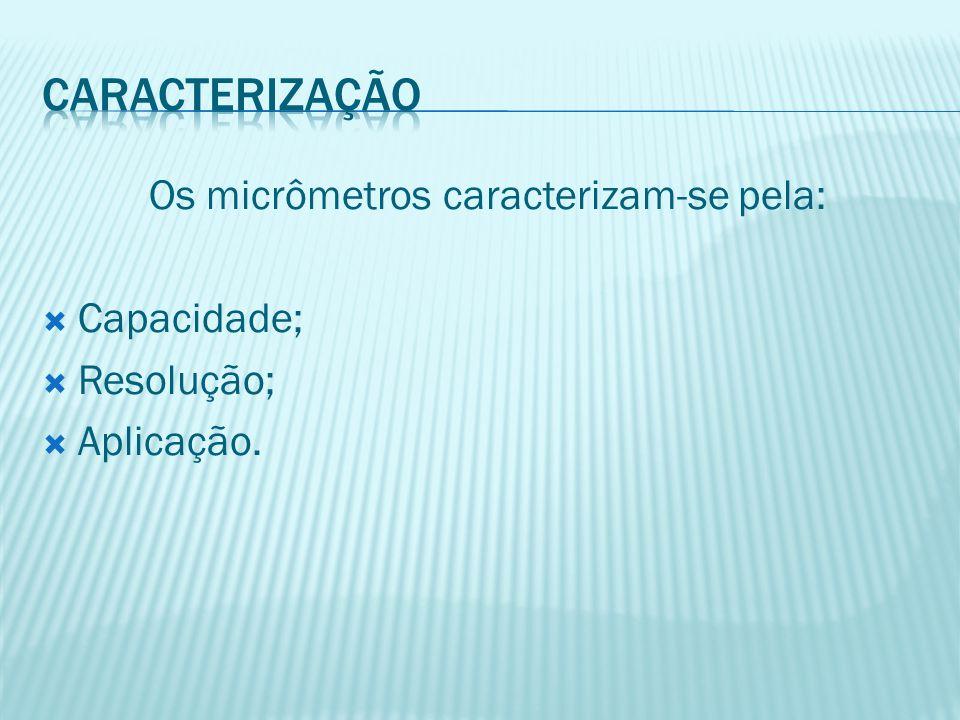 Os micrômetros caracterizam-se pela: