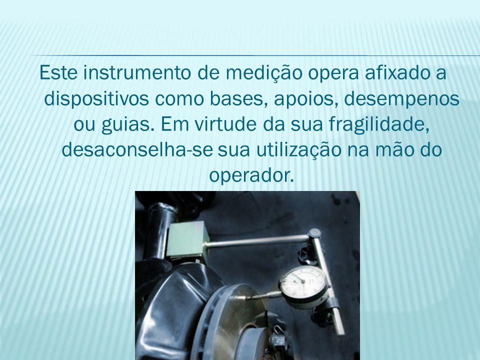 Este instrumento de medição opera afixado a dispositivos como bases, apoios, desempenos ou guias.