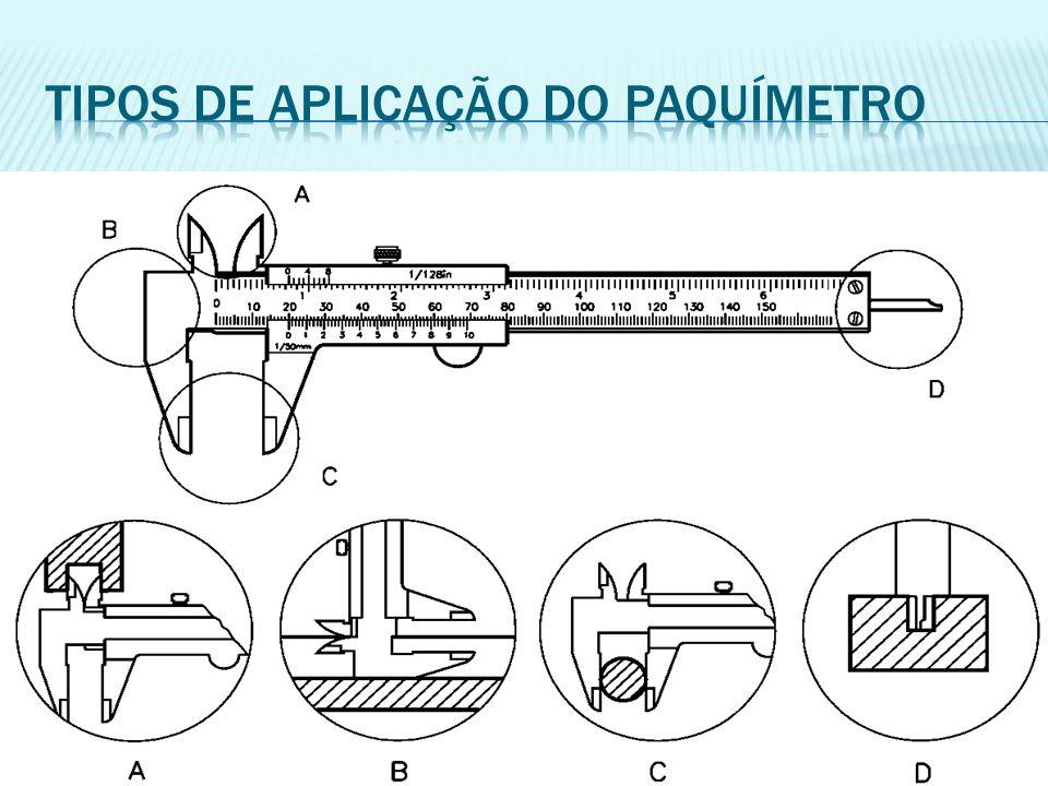 Tipos de aplicação do paquímetro