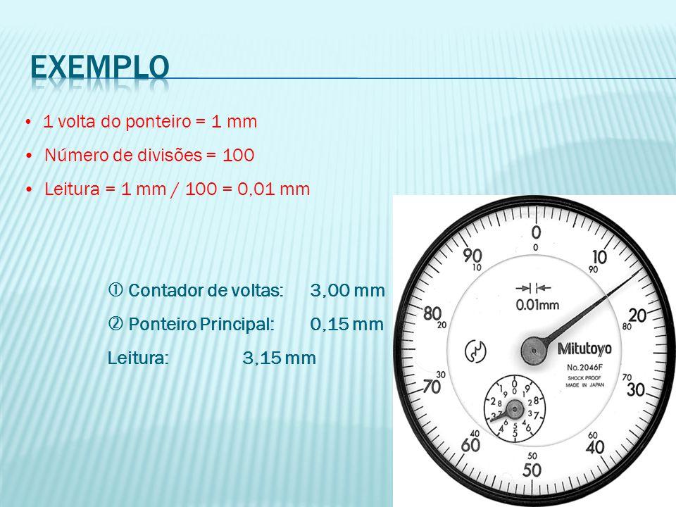 exemplo Número de divisões = 100 Leitura = 1 mm / 100 = 0,01 mm