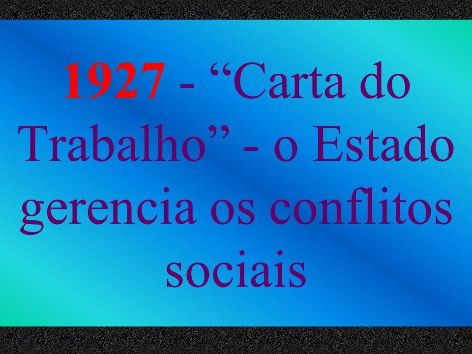 1927 - Carta do Trabalho - o Estado gerencia os conflitos sociais