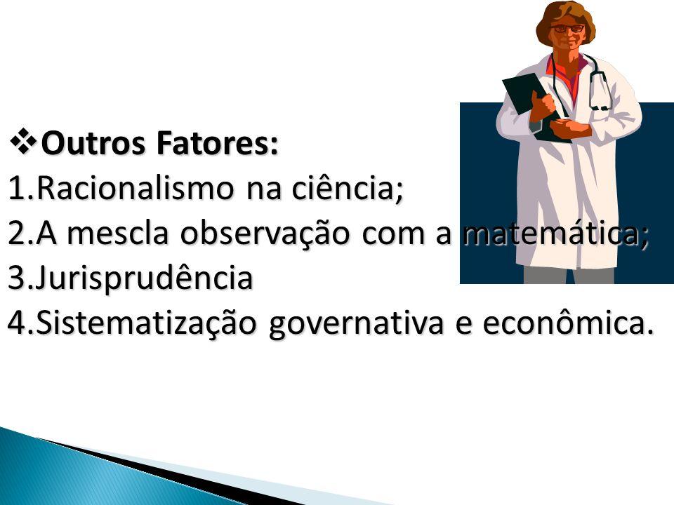 Outros Fatores:Racionalismo na ciência; A mescla observação com a matemática; Jurisprudência.