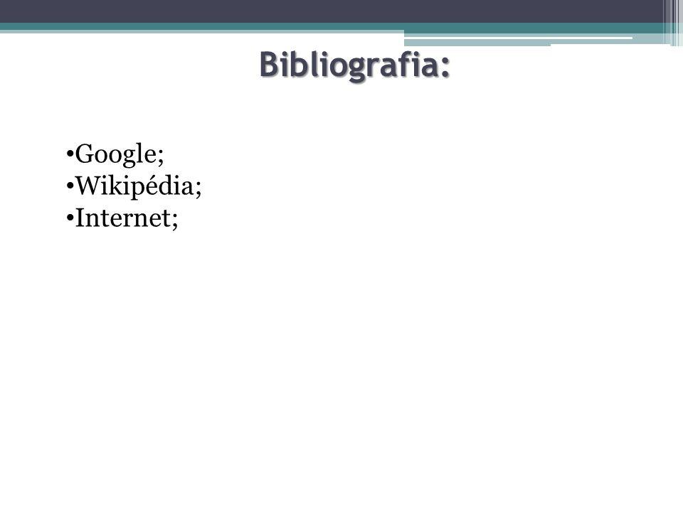 Bibliografia: Google; Wikipédia; Internet;