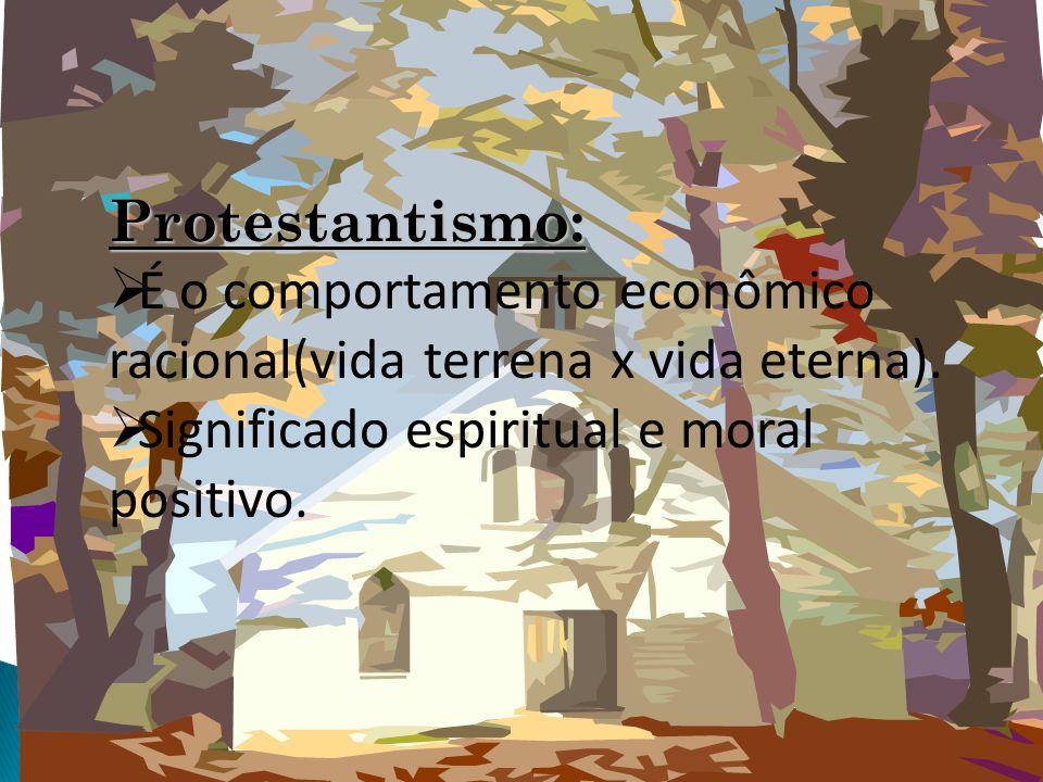 Protestantismo:É o comportamento econômico racional(vida terrena x vida eterna).