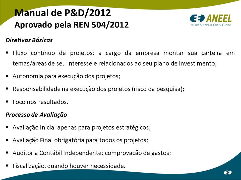 Manual de P&D/2012 Aprovado pela REN 504/2012