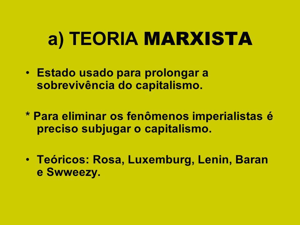 a) TEORIA MARXISTA Estado usado para prolongar a sobrevivência do capitalismo.