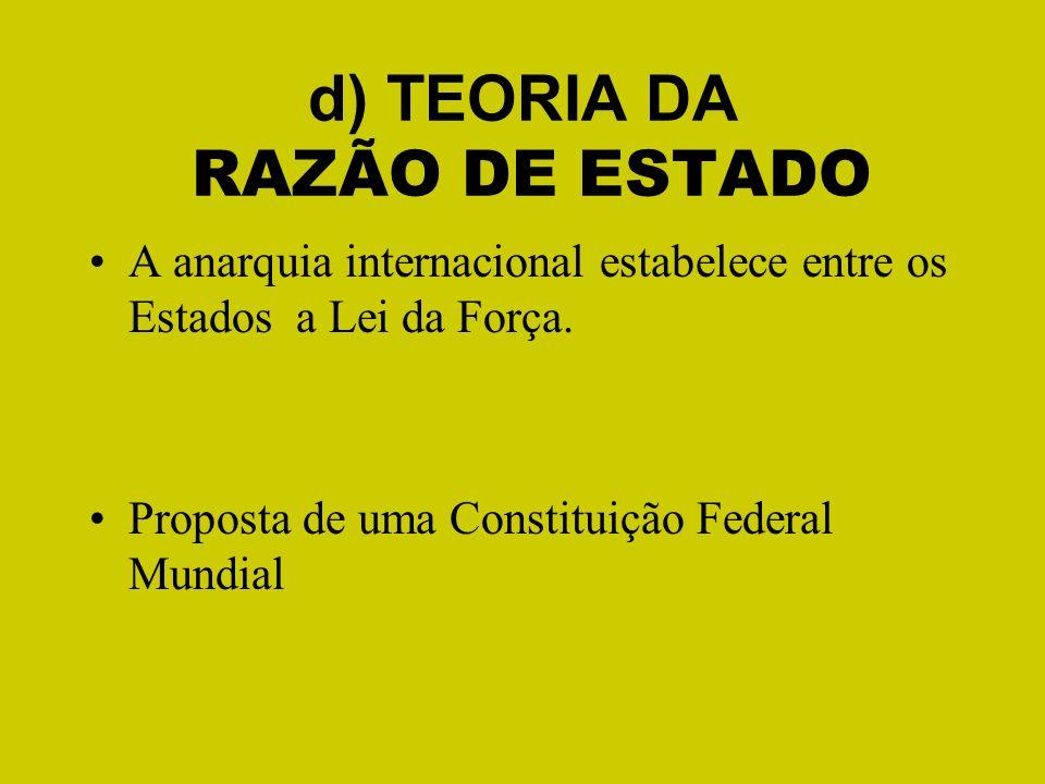 d) TEORIA DA RAZÃO DE ESTADO
