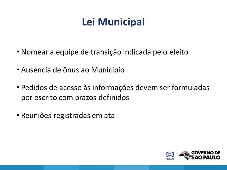 Lei Municipal Nomear a equipe de transição indicada pelo eleito