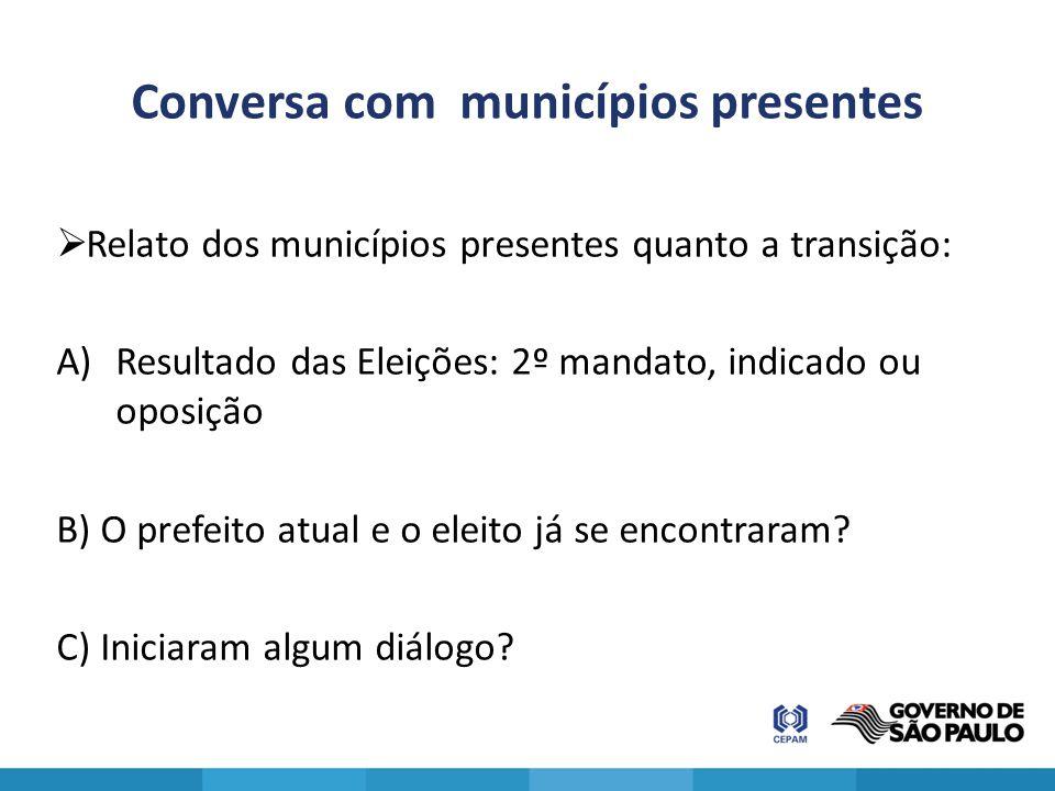 Conversa com municípios presentes