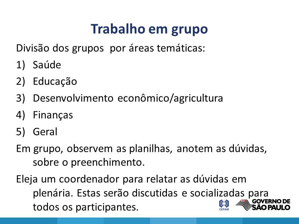 Trabalho em grupo Divisão dos grupos por áreas temáticas: Saúde