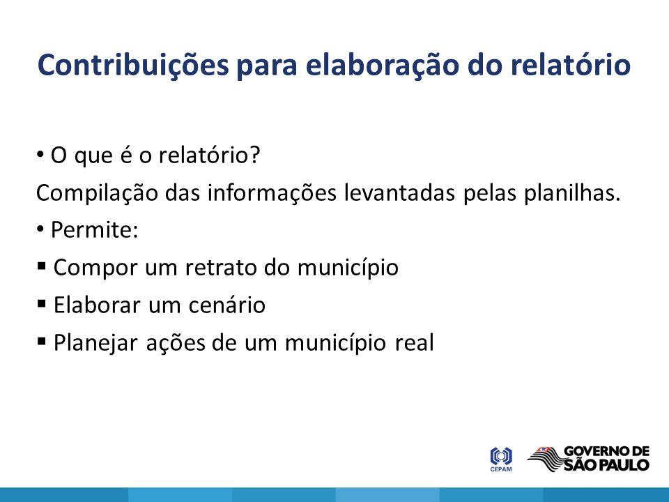 Contribuições para elaboração do relatório