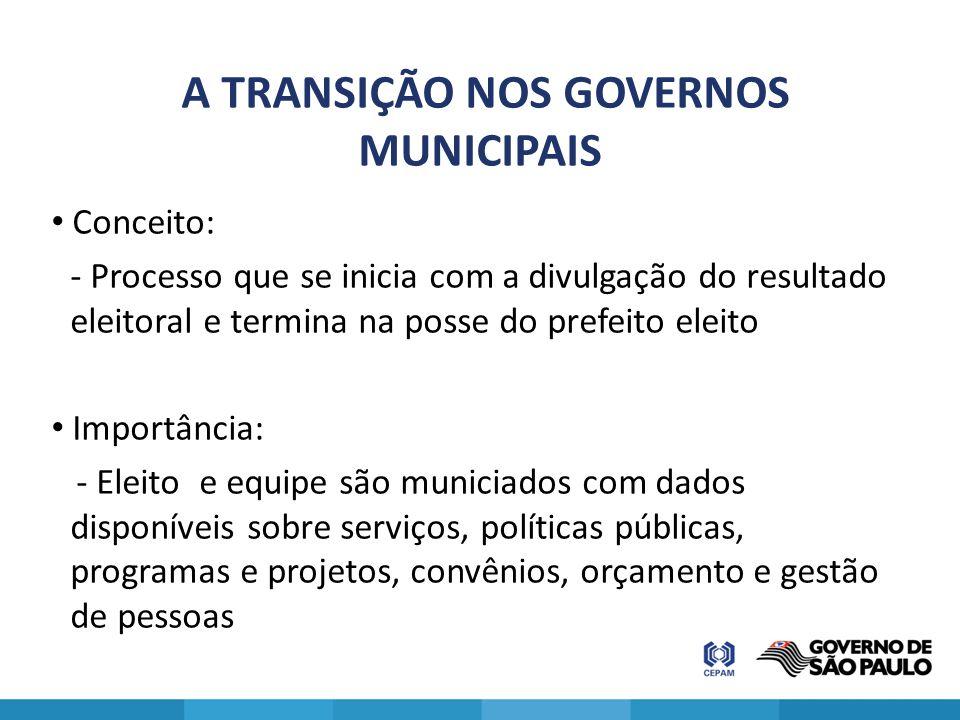 A TRANSIÇÃO NOS GOVERNOS MUNICIPAIS