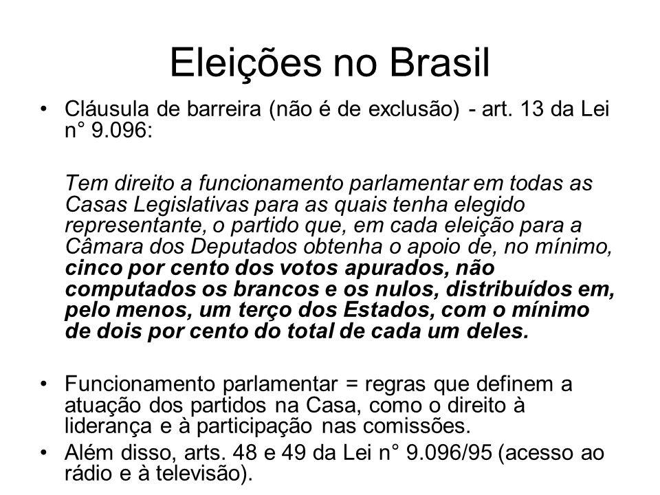 Eleições no Brasil Cláusula de barreira (não é de exclusão) - art. 13 da Lei n° 9.096: