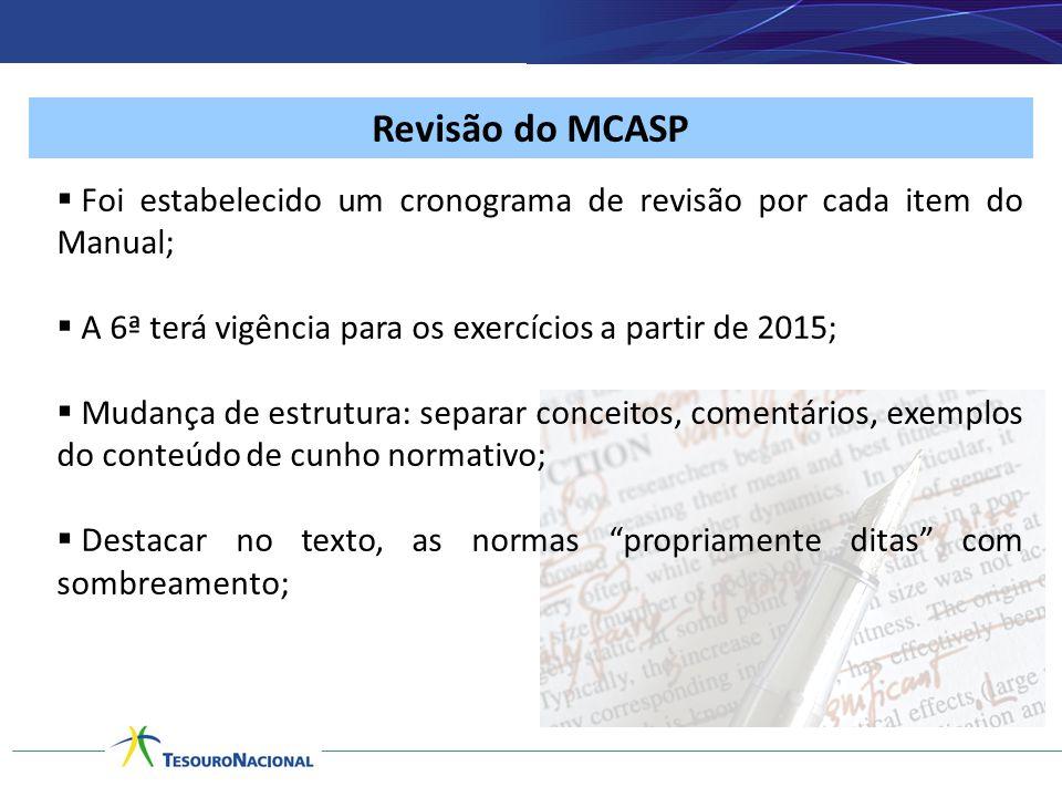 Revisão do MCASP Foi estabelecido um cronograma de revisão por cada item do Manual; A 6ª terá vigência para os exercícios a partir de 2015;