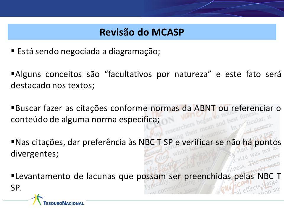 Revisão do MCASP Está sendo negociada a diagramação;