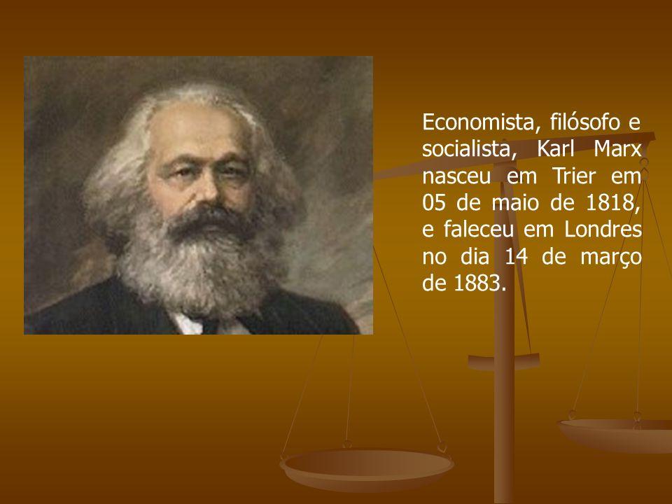Economista, filósofo e socialista, Karl Marx nasceu em Trier em 05 de maio de 1818, e faleceu em Londres no dia 14 de março de 1883.