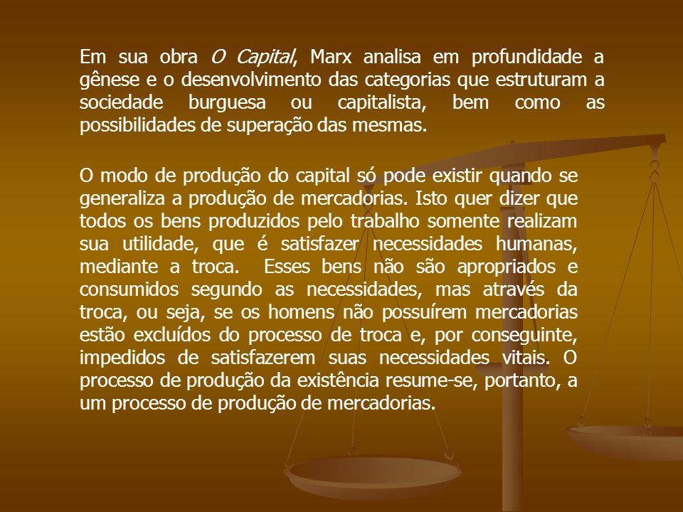 Em sua obra O Capital, Marx analisa em profundidade a gênese e o desenvolvimento das categorias que estruturam a sociedade burguesa ou capitalista, bem como as possibilidades de superação das mesmas.