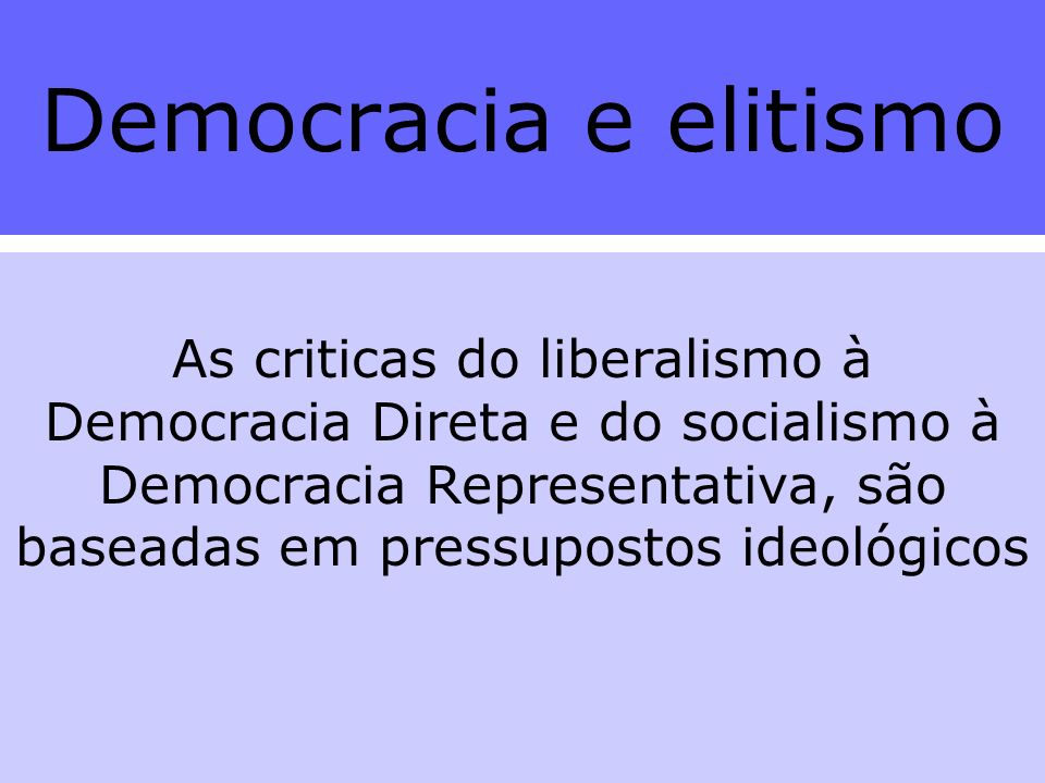 Democracia e elitismo