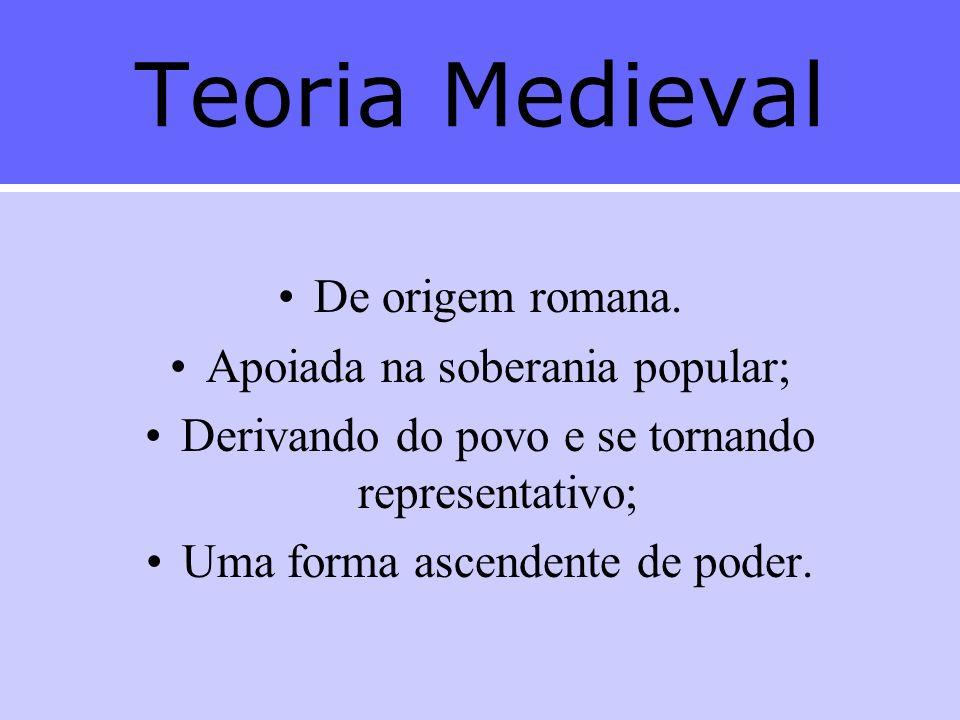 Teoria Medieval De origem romana. Apoiada na soberania popular;