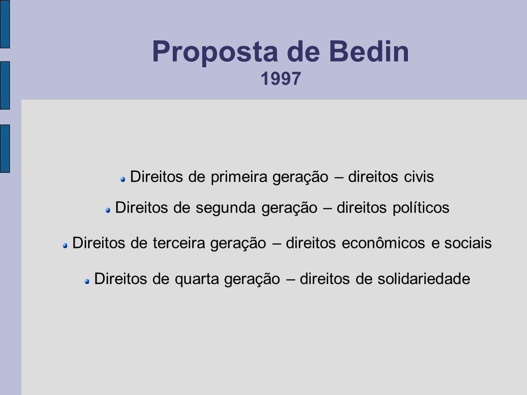 Proposta de Bedin 1997 Direitos de primeira geração – direitos civis