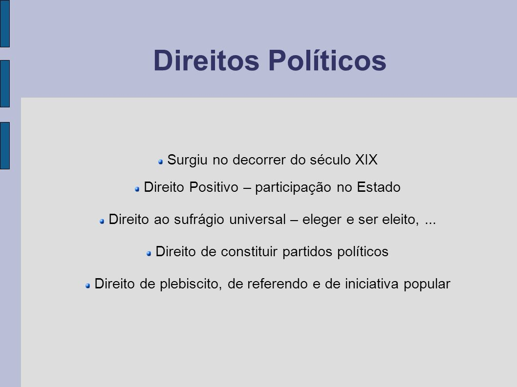 Direitos Políticos Surgiu no decorrer do século XIX