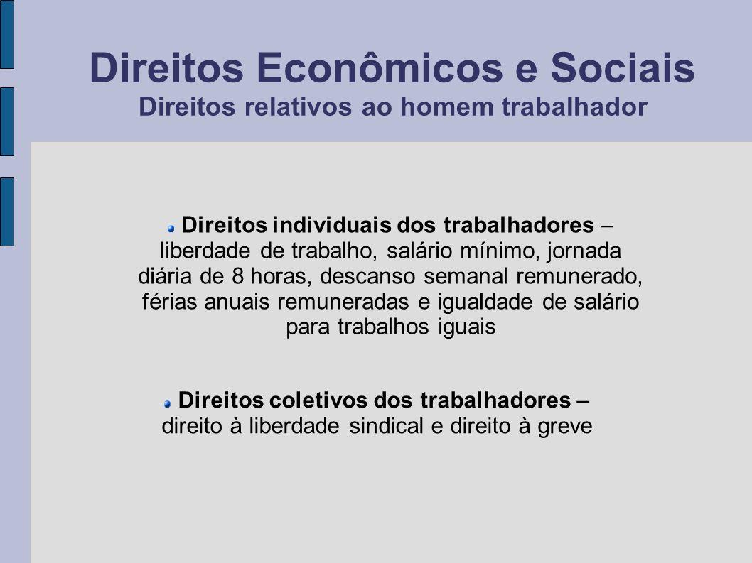 Direitos Econômicos e Sociais Direitos relativos ao homem trabalhador