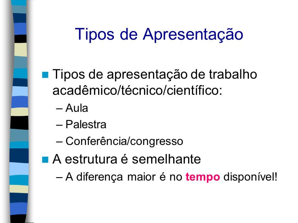 Tipos de Apresentação Tipos de apresentação de trabalho acadêmico/técnico/científico: Aula. Palestra.