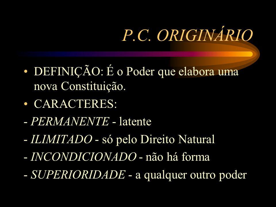 P.C. ORIGINÁRIO DEFINIÇÃO: É o Poder que elabora uma nova Constituição. CARACTERES: - PERMANENTE - latente.