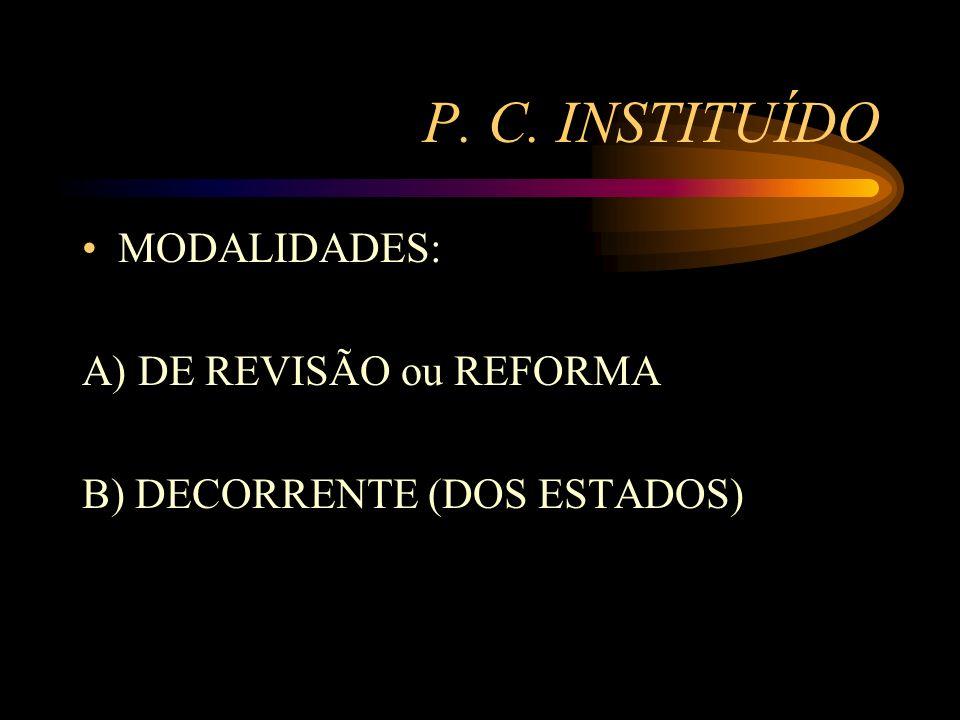 P. C. INSTITUÍDO MODALIDADES: A) DE REVISÃO ou REFORMA