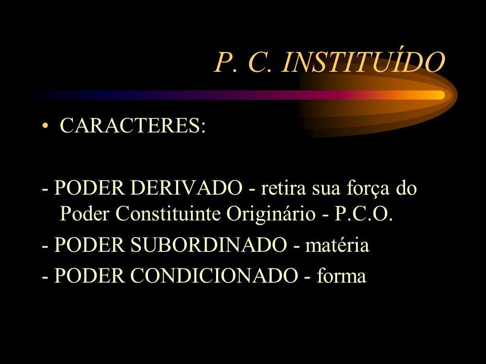 P. C. INSTITUÍDO CARACTERES: