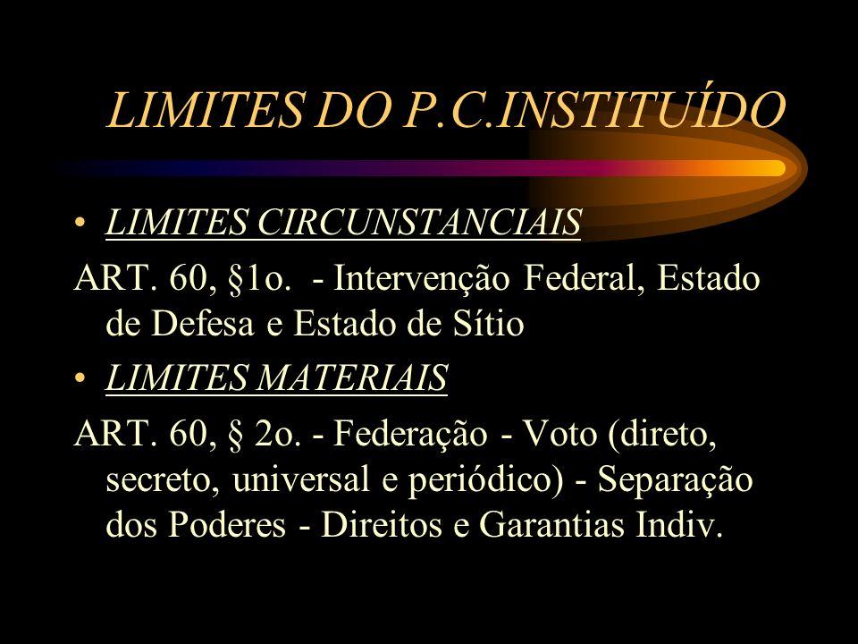 LIMITES DO P.C.INSTITUÍDO