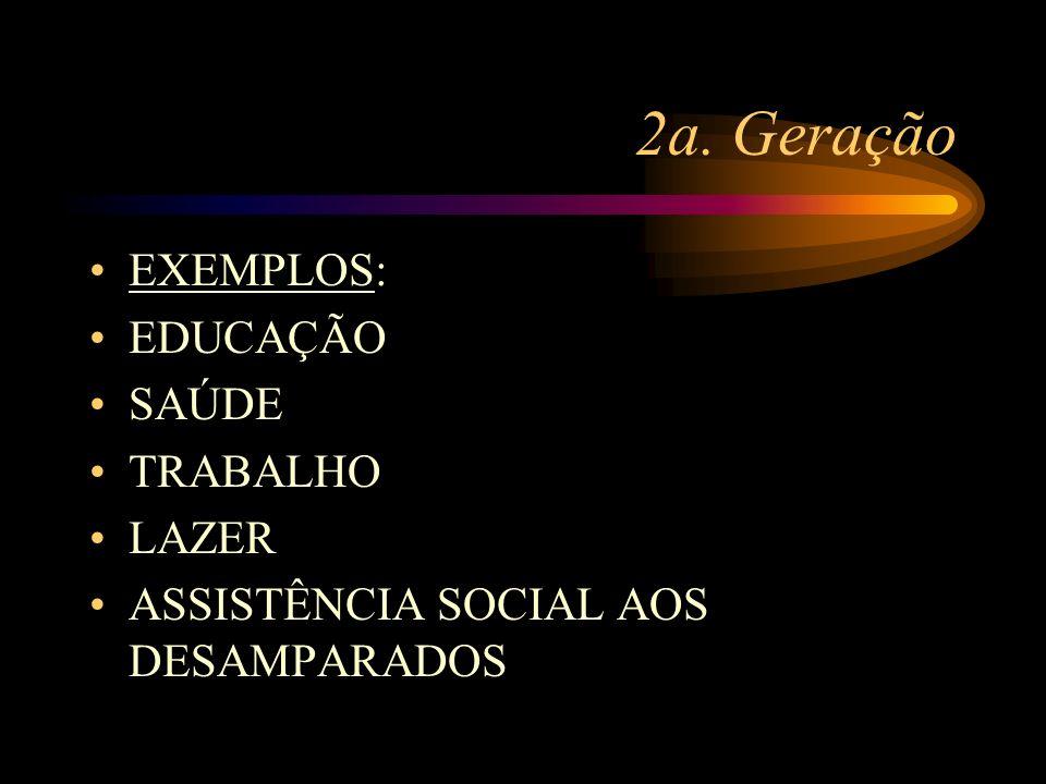 2a. Geração EXEMPLOS: EDUCAÇÃO SAÚDE TRABALHO LAZER