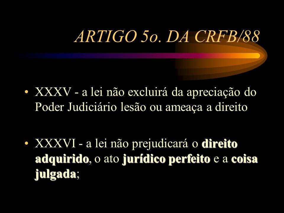 ARTIGO 5o. DA CRFB/88 XXXV - a lei não excluirá da apreciação do Poder Judiciário lesão ou ameaça a direito.