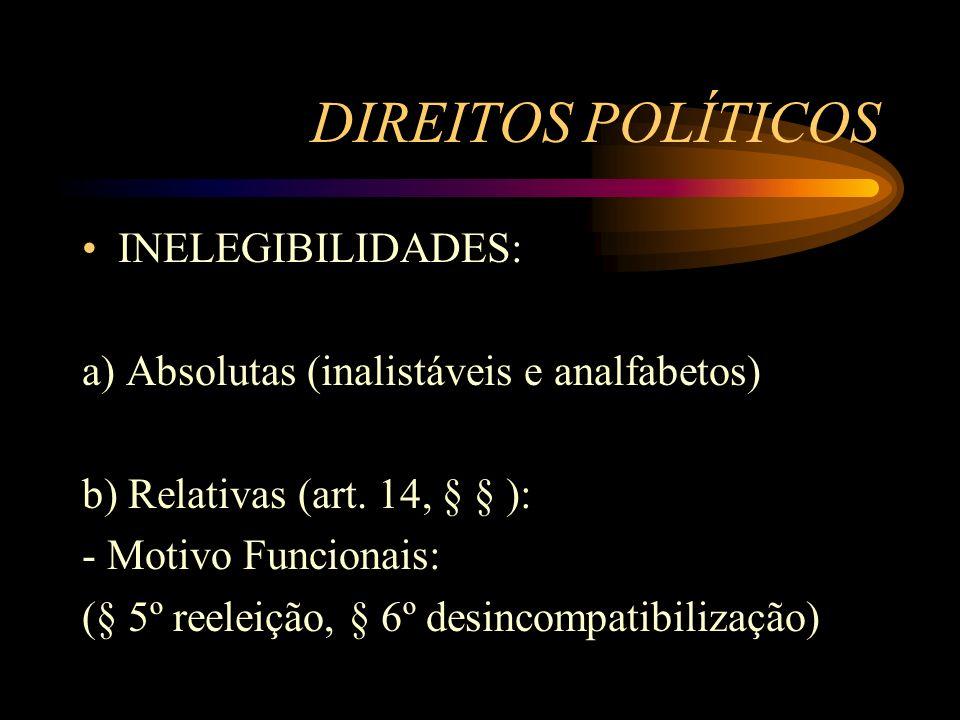 DIREITOS POLÍTICOS INELEGIBILIDADES: