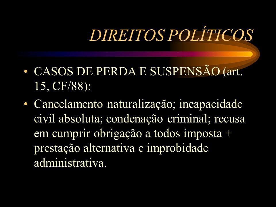 DIREITOS POLÍTICOS CASOS DE PERDA E SUSPENSÃO (art. 15, CF/88):