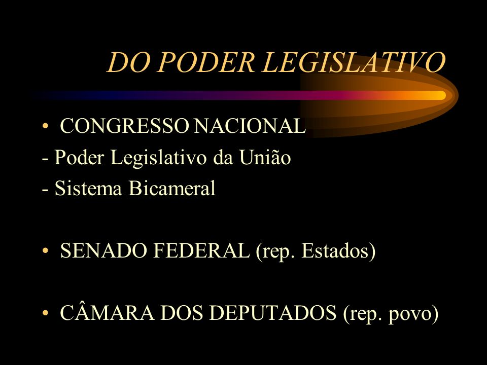 DO PODER LEGISLATIVO CONGRESSO NACIONAL - Poder Legislativo da União
