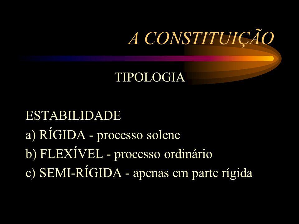 A CONSTITUIÇÃO TIPOLOGIA ESTABILIDADE a) RÍGIDA - processo solene