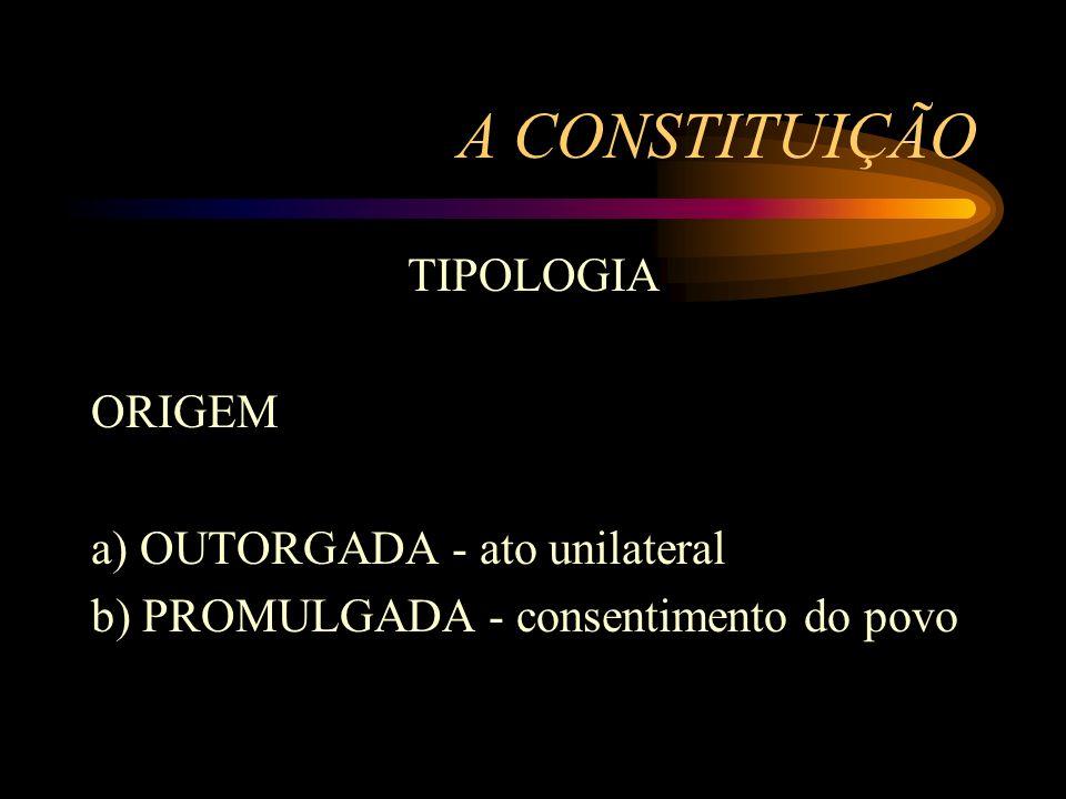 A CONSTITUIÇÃO TIPOLOGIA ORIGEM a) OUTORGADA - ato unilateral