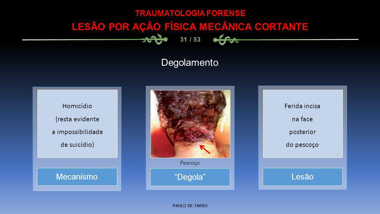 TRAUMATOLOGIA FORENSE LESÃO POR AÇÃO FÍSICA MECÂNICA CORTANTE