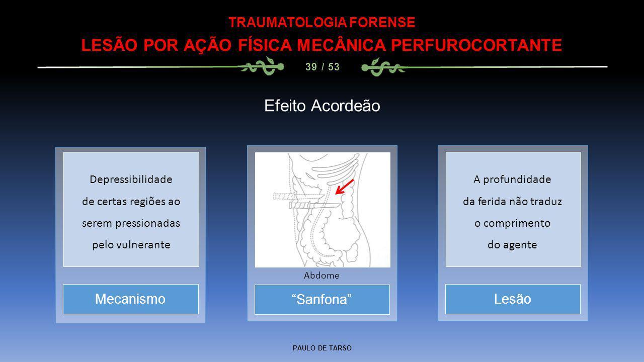 TRAUMATOLOGIA FORENSE LESÃO POR AÇÃO FÍSICA MECÂNICA PERFUROCORTANTE