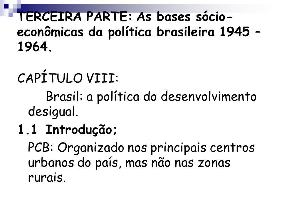 TERCEIRA PARTE: As bases sócio-econômicas da política brasileira 1945 – 1964.