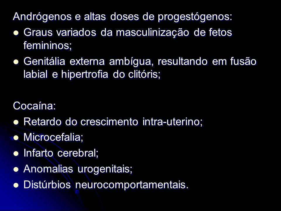 Andrógenos e altas doses de progestógenos: