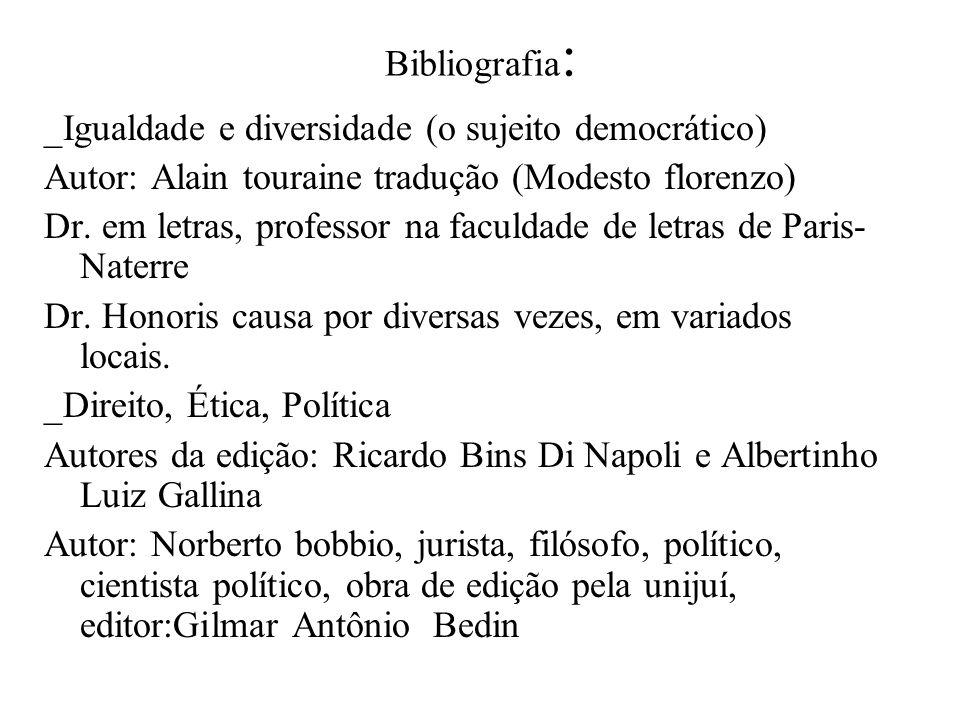 Bibliografia: _Igualdade e diversidade (o sujeito democrático) Autor: Alain touraine tradução (Modesto florenzo)