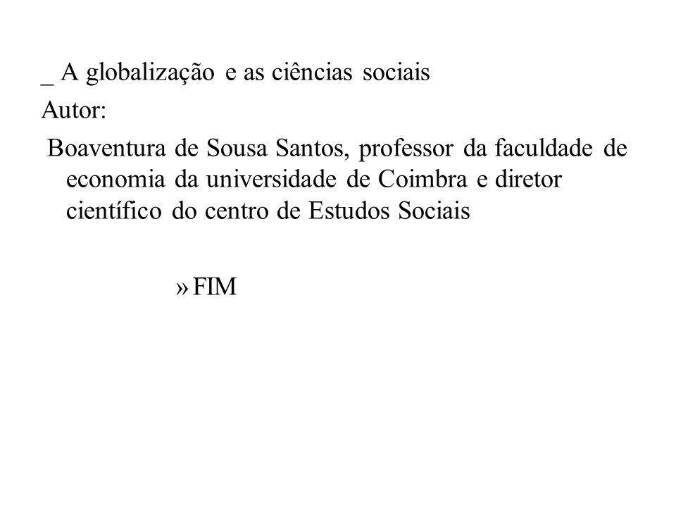 _ A globalização e as ciências sociais