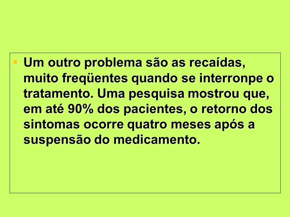 Um outro problema são as recaídas, muito freqüentes quando se interronpe o tratamento.