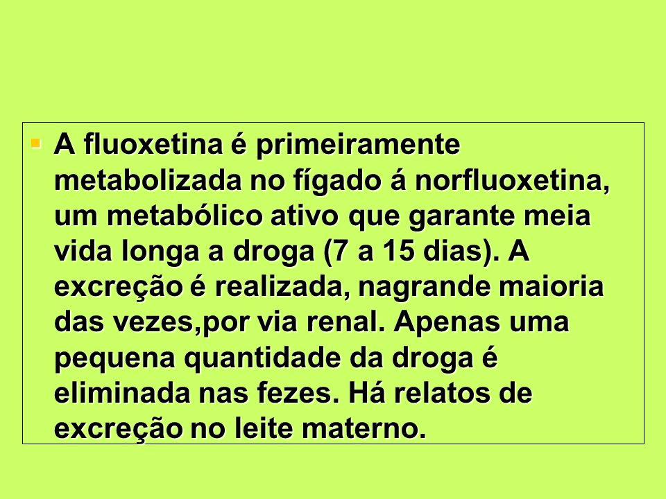 A fluoxetina é primeiramente metabolizada no fígado á norfluoxetina, um metabólico ativo que garante meia vida longa a droga (7 a 15 dias).