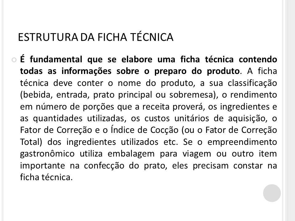 ESTRUTURA DA FICHA TÉCNICA
