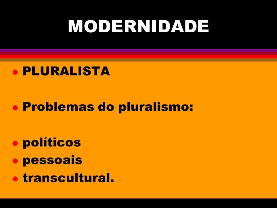MODERNIDADE PLURALISTA Problemas do pluralismo: políticos pessoais