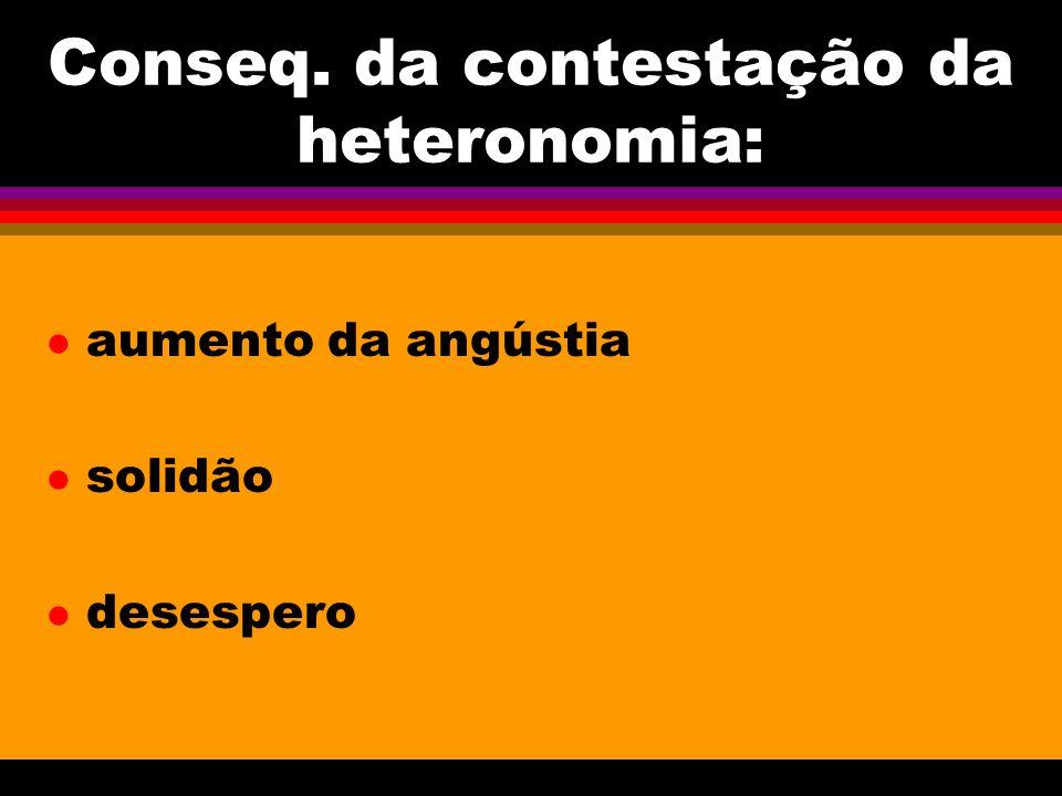 Conseq. da contestação da heteronomia: