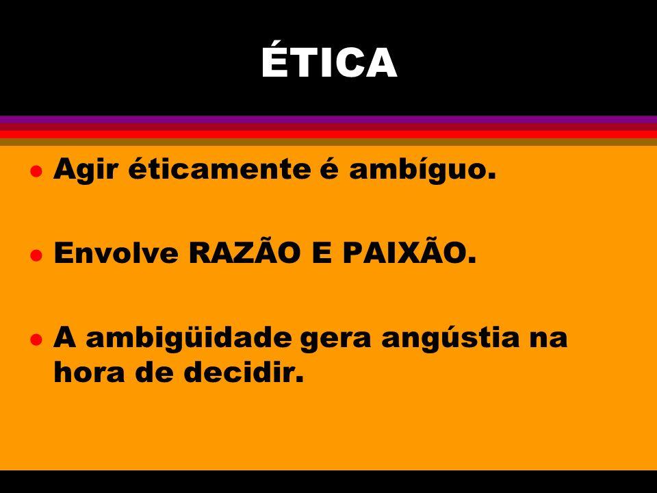 ÉTICA Agir éticamente é ambíguo. Envolve RAZÃO E PAIXÃO.